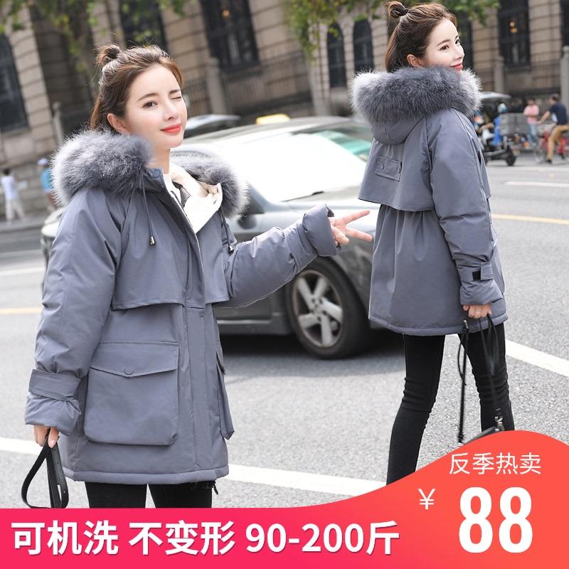 反季冬装派克服新款羽绒棉服女中长款韩版大码宽松棉袄棉衣外套厚