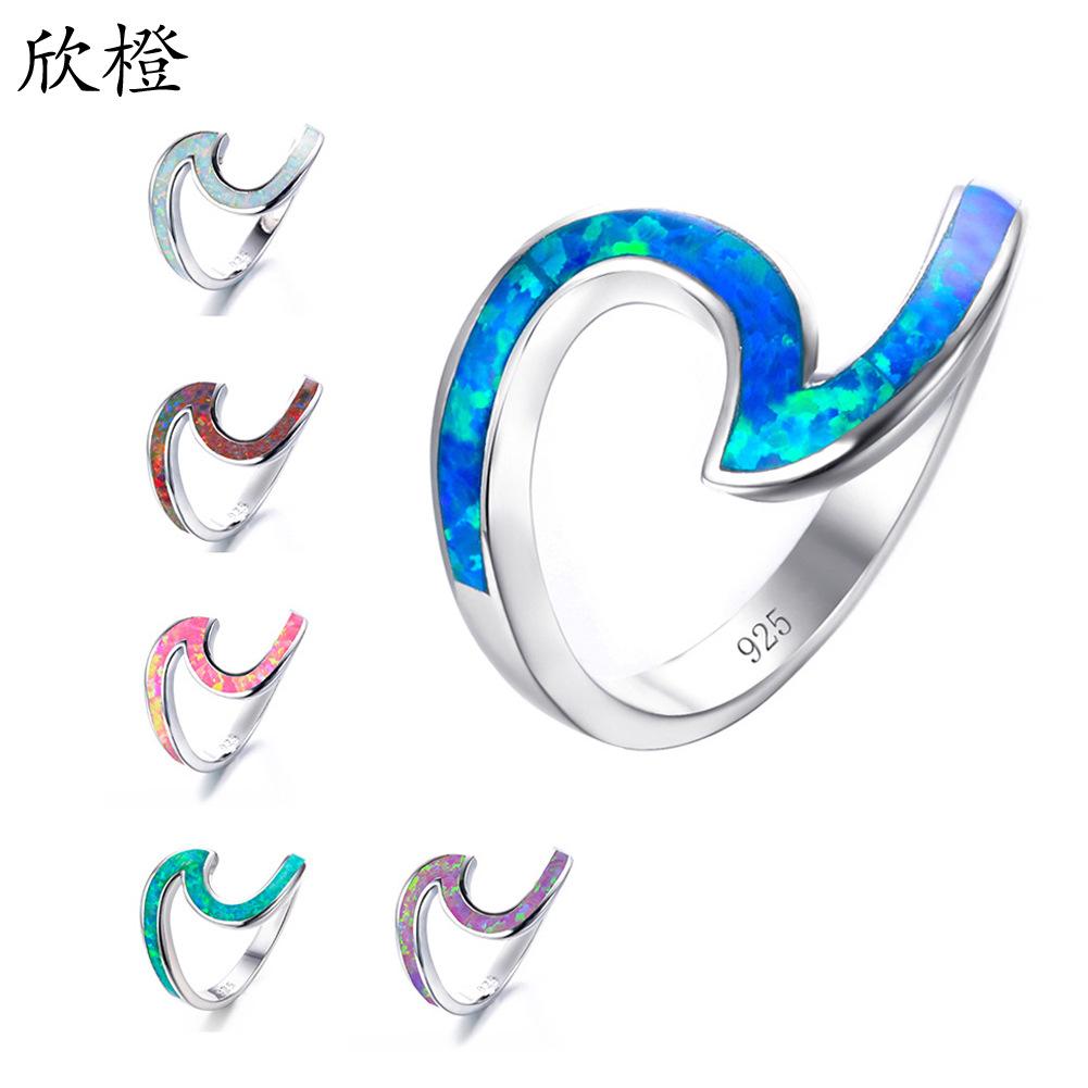 跨境爆款配饰白色火蛋白石环白色满珠宝银饰结婚澳宝2字形戒指