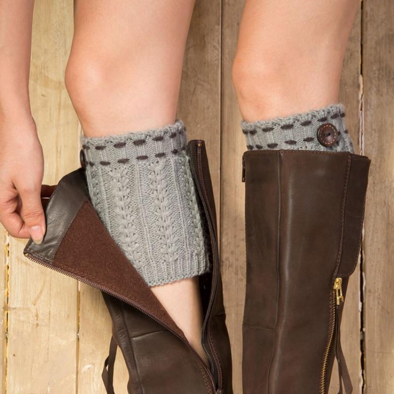 秋冬女士时尚袜套毛线针织鞋套保暖加厚狐脚踝靴套短款护腿护膝套