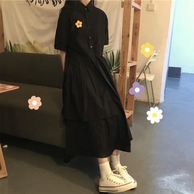 夏季泫雅风裙子ins超仙法式学生小黑裙长款森系仙女小香风连衣裙