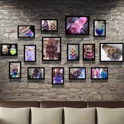 美发店装饰 背景墙 拍照 网红 片相框挂墙组合发廊背景墙挂画壁画