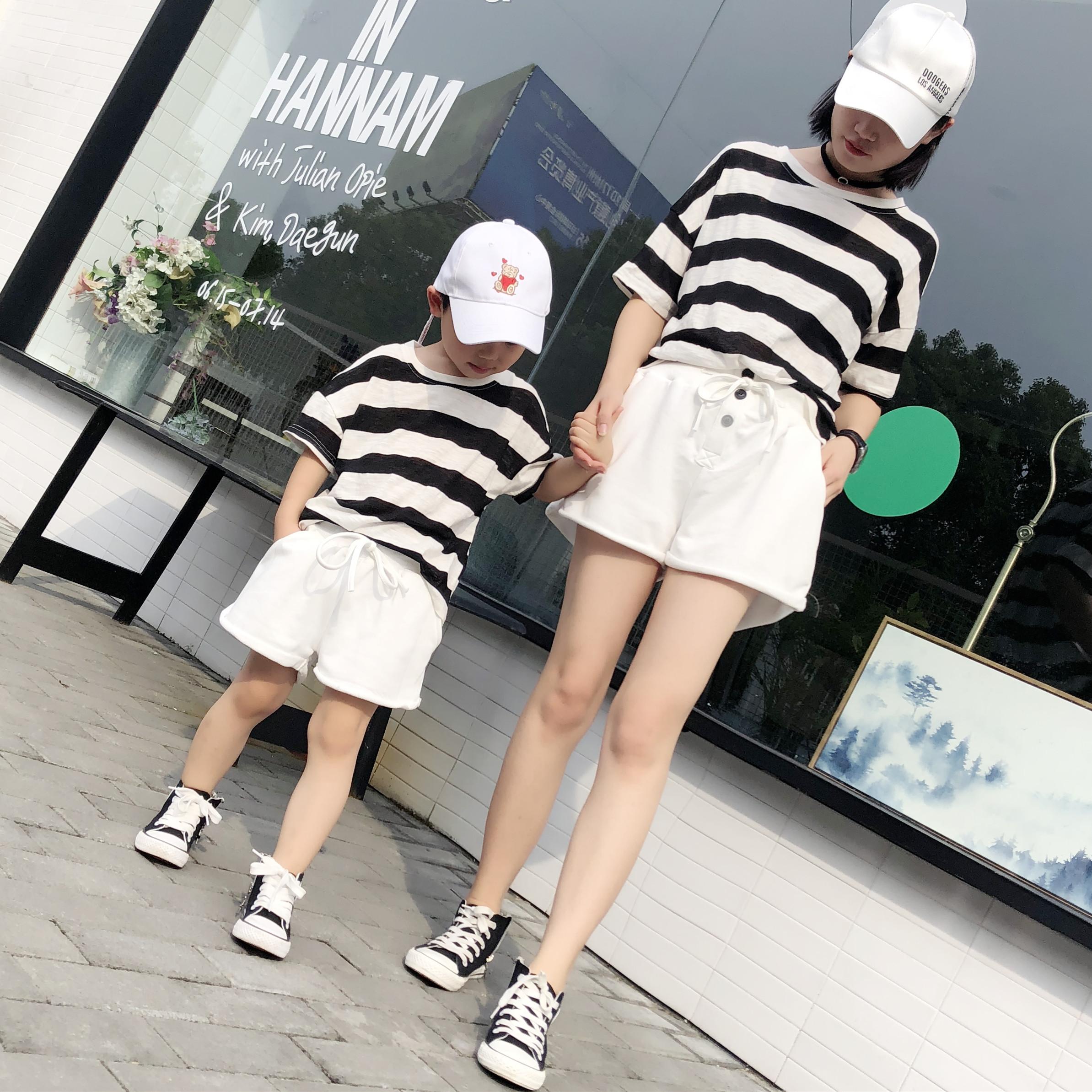 亲子装套装夏装短袖2018全家装条纹一家三口装母子母女装T恤+短裤