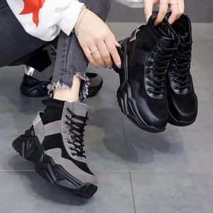 厚底老爹鞋女ins潮2020冬新款高帮雪地靴加厚加绒休闲运动棉鞋子