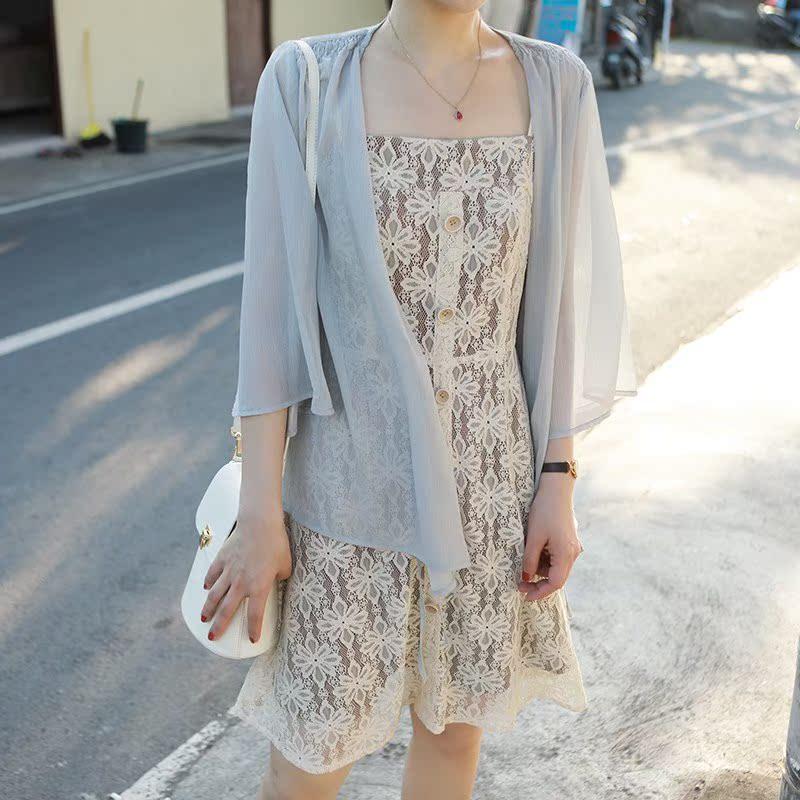 花栗鼠小姐 防晒衣女2018新款夏季配吊带裙的小外披白色雪纺开衫