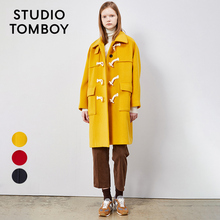 Tomboy star same classic cow horn buckle big pocket sheep wool double faced woolen overcoat for women
