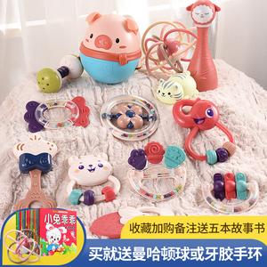 新生婴儿玩具手摇铃可啃咬益智早教4牙胶6个月以上3女宝宝0一1岁2