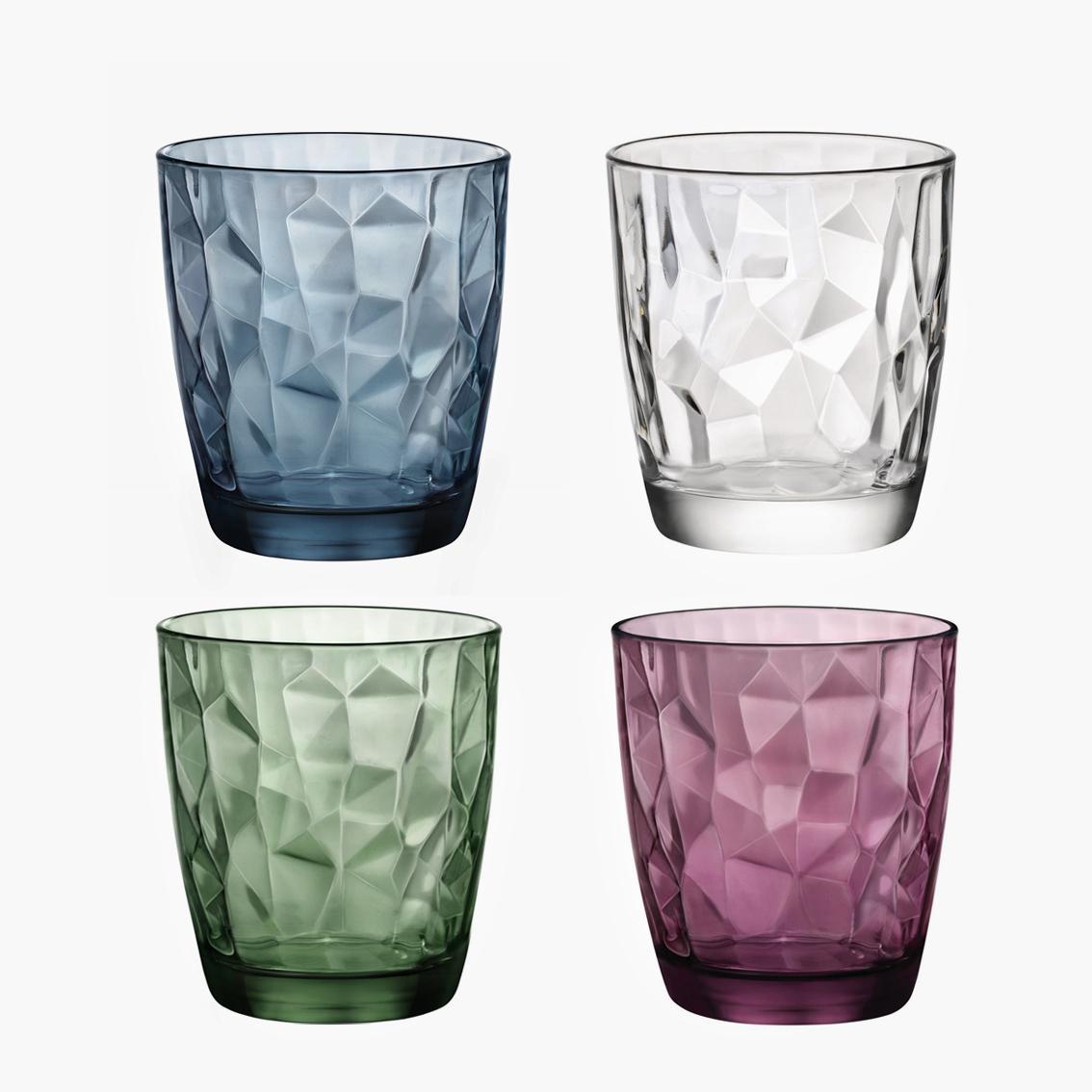 意大利进口玻璃杯子水晶钻石茶杯 家用饮料果汁杯彩色喝水杯套装