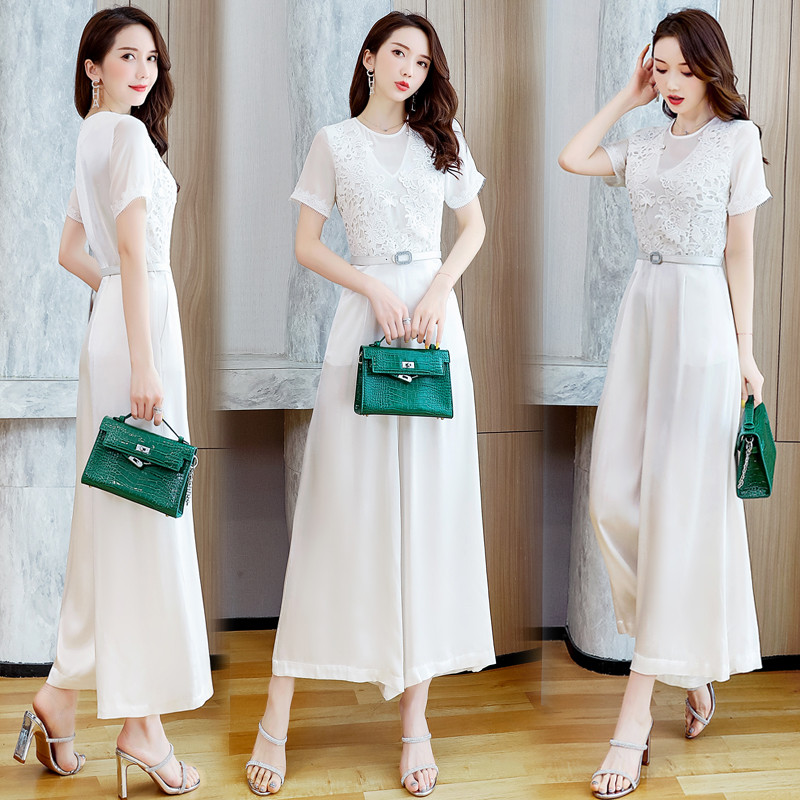 Summer new elegant and fashionable style Lace Chiffon splicing Jumpsuit womens foreign style Jumpsuit wide leg pants