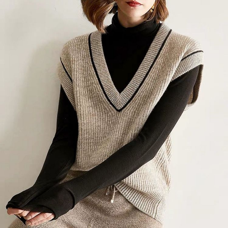 Autumn and winter 2020 new lazy style wool loose vest womens loose and versatile Sweater Vest