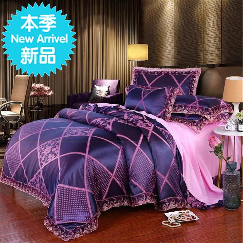 q北欧风大提花婚庆床上用品四件套居家日用单双人床上用品