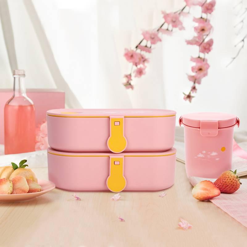 饭盒微波炉专用上班族带饭餐盒套装保温可爱少女心学生便当盒日式