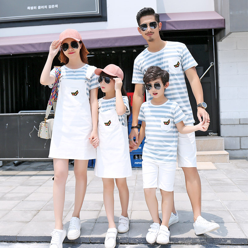 Parent child dress 2020 new fashion mother womens T-shirt sister brother mother daughter father son clothing brother and sister skirt brother two family