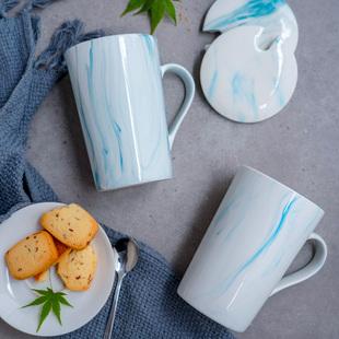 陶瓷马克杯带盖勺早餐杯子个性潮流情侣牛奶咖啡杯男女家用水杯