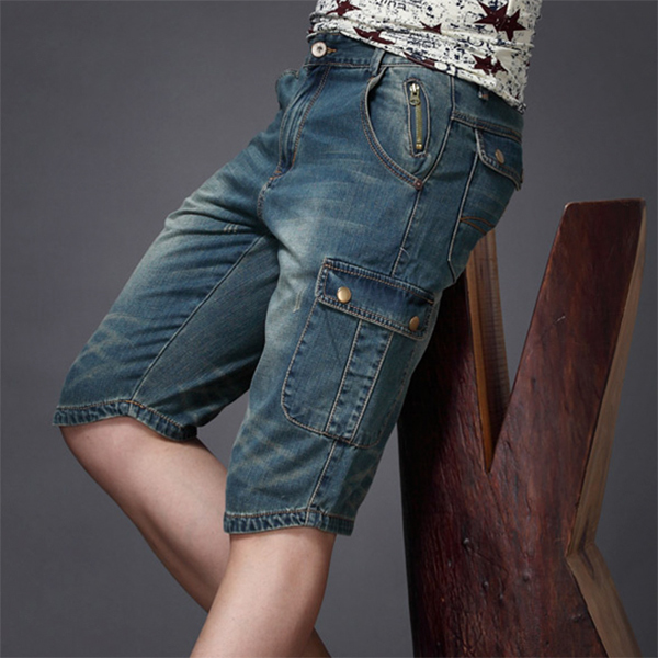 夏季牛仔短裤男薄款七分中裤休闲五分工装短裤欧美宽松直筒男士潮