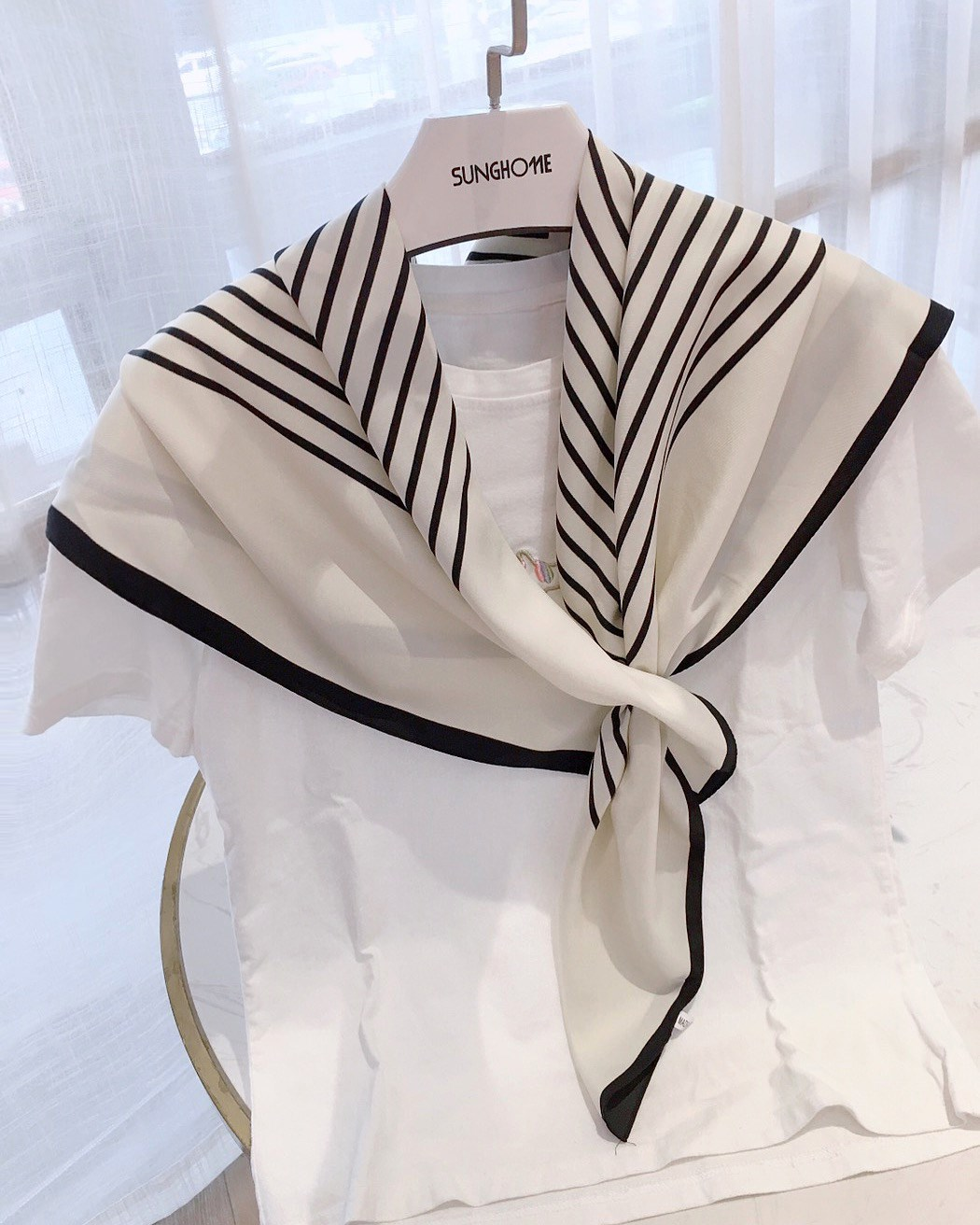 Chamois with holes, simple stripes, perforated womens square scarf, spring and Autumn New Korean version