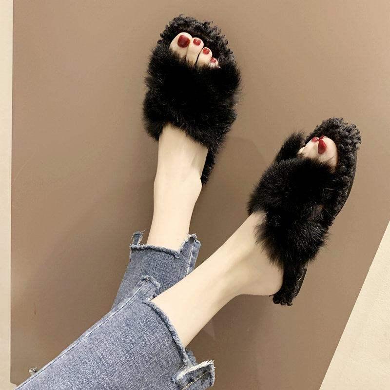 (用16.17元券)官方轩尧耐克泰正品女2019毛毛拖鞋