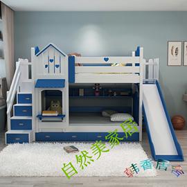 实木儿童床双层高低床子母床城堡上下铺梯柜滑梯床男孩女孩公主床图片