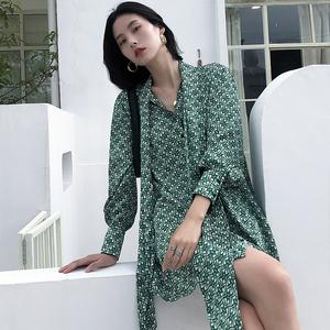 K家印花雪纺连衣裙女长袖2020春季中长款衬衫裙欧货新款初秋女装