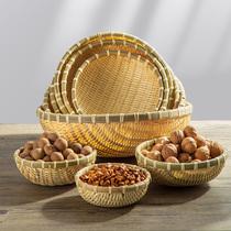 竹编制品圆簸箕家用农家水果馒头筐干果零食收纳小箩筐洗菜竹篮子