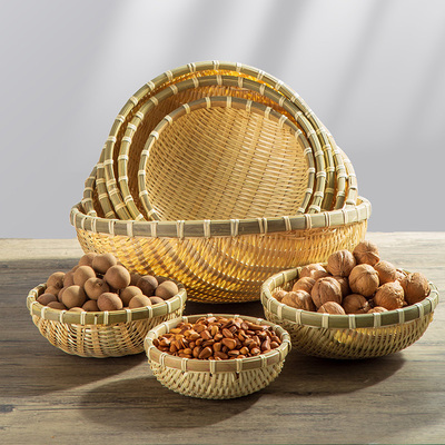Bamboo woven products, round dustpan, household farm fruit, steamed bread basket, dried fruit snack storage, small basket basket, vegetable washing bamboo basket