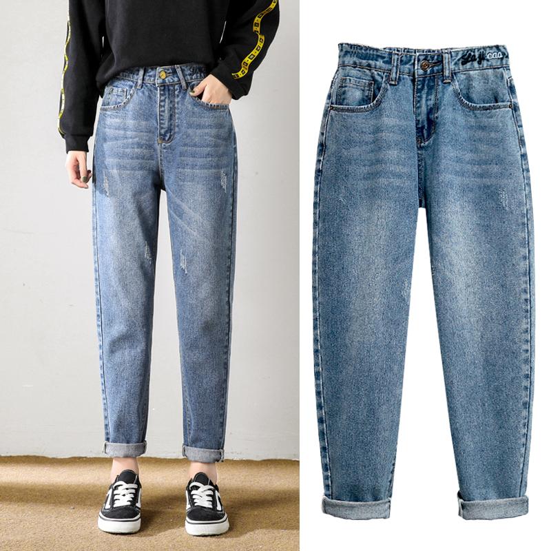 大码牛仔裤女胖妹妹萝卜哈伦裤宽松显瘦200斤胯骨宽大腿粗裤子