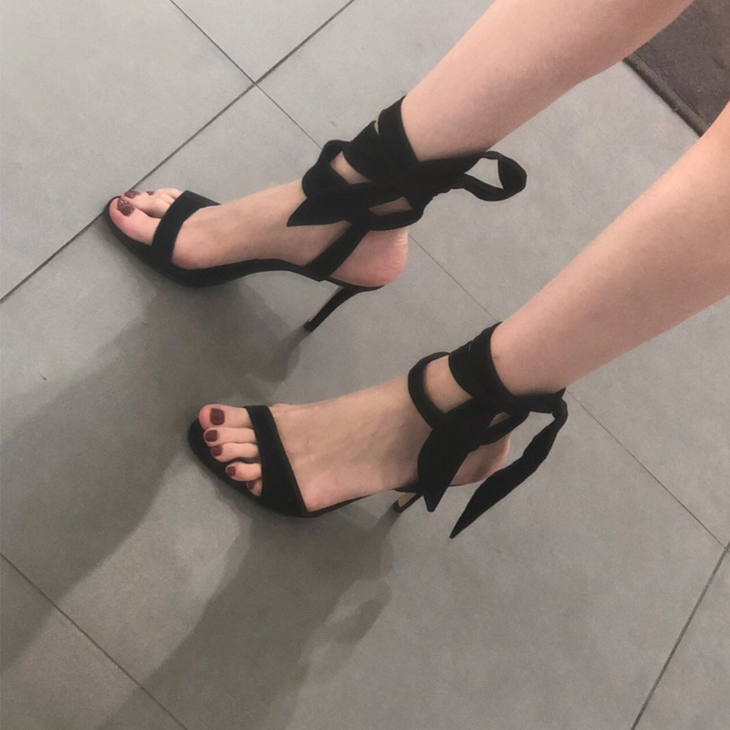 New style small CK sandals in 2020 summer with bowknot and stiletto heels student lace up fairy girl shoes