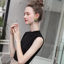 夏季半高领针织背心女欧美2021新款紧身无袖上衣短款冰丝打底衫