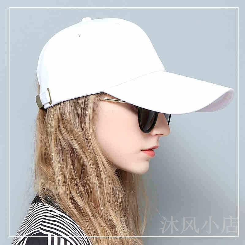 Duck tongue cap female lengthening suitable for big face and thin Korean sunscreen pure cotton sunshade hat fashionable big face wide brim baseball cap