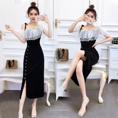 宴会晚礼服女2020新款时尚名媛气质性感修身显瘦开叉吊带连衣裙夏