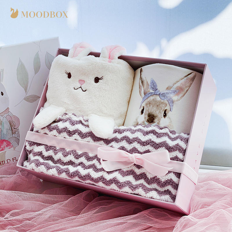moodbox full moon newborn baby supplies spring and autumn one-piece romper ins cute rabbit long-sleeved romper cartoon gift box
