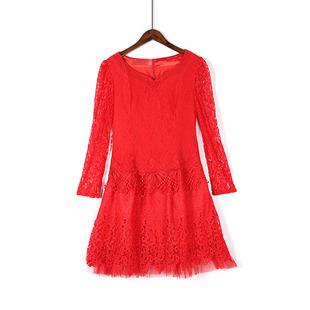 镶钻桃领蕾丝袖中长款新娘装蕾丝网纱拼接敬酒服喜气大红色连衣裙