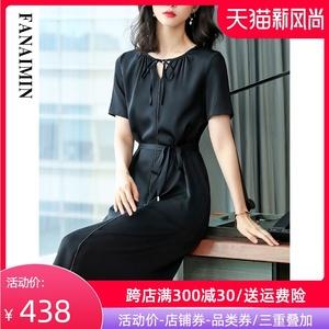 高档纯色真丝连衣裙女2020中长裙轻熟风气质遮肚显瘦纯色系带裙子
