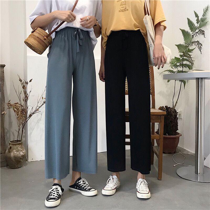 春夏季韩版裤子高腰显瘦阔腿裤女垂感