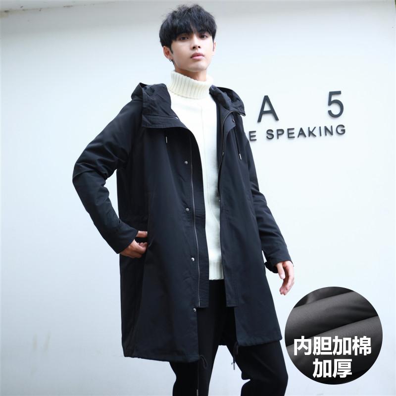 2020春秋の男性の中でロングコートの流行は帽子学生の韓版の修身服男装ファッションジャケットです。