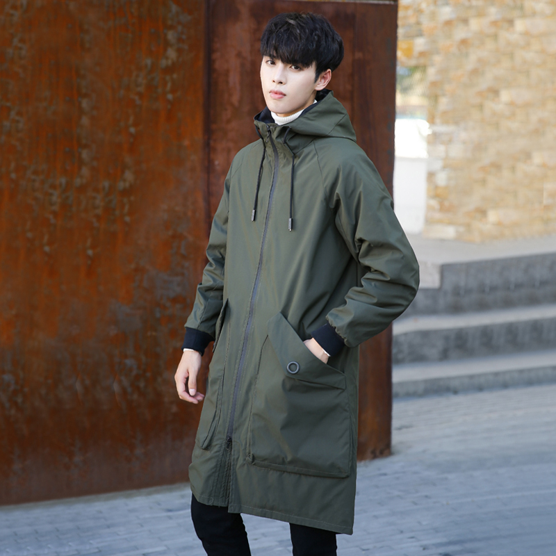 Mens medium and long windbreaker: a new handsome knee coat in spring and autumn of 2019