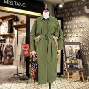 法式復古襯衫裙秋冬chic港味長袖長款顯瘦遮肉寬鬆過膝風衣連衣裙