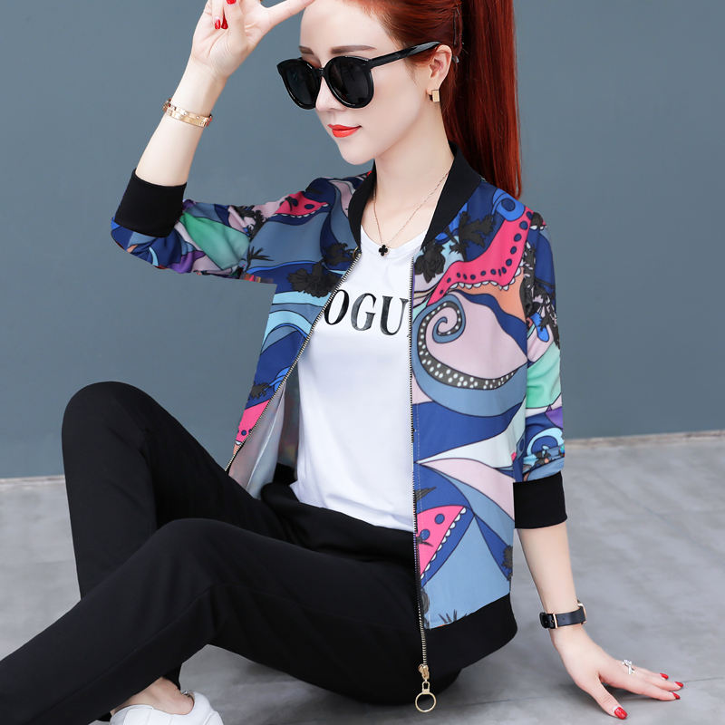 Counter authentic spring and autumn new fashion Europe station versatile womens leisure sports short jacket thin jacket cardigan stick