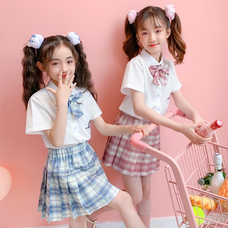 夏季女童jk制服裙子小学生班服全套水手服正版dk儿童套装衬衫皓海