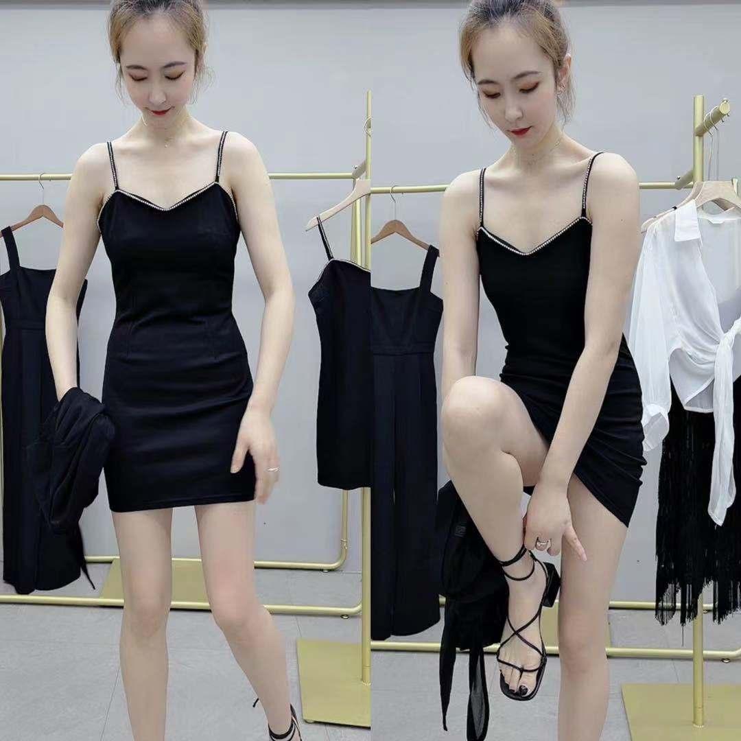 阑珊处服装重工镶钻吊带裙连衣裙包臀裙高弹力小心机性感修身短裙