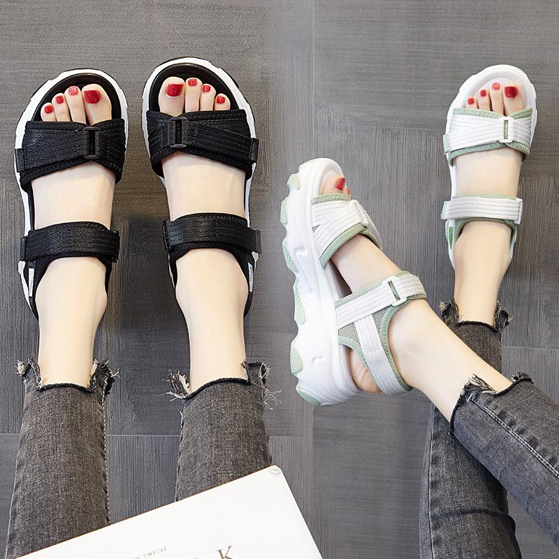 厚底凉鞋女ins潮2020年新款夏季网红露趾百搭超火增高松糕底运动