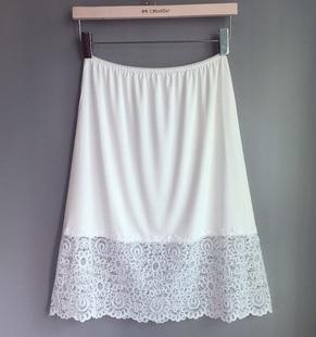 半身裙衬裙打底裙 防走光防透防静电 裙内衬搭白黑色 蕾丝中长款