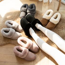 2020冬新款羊皮毛一体浅口雪地靴女短筒平底低帮加绒棉鞋面包鞋