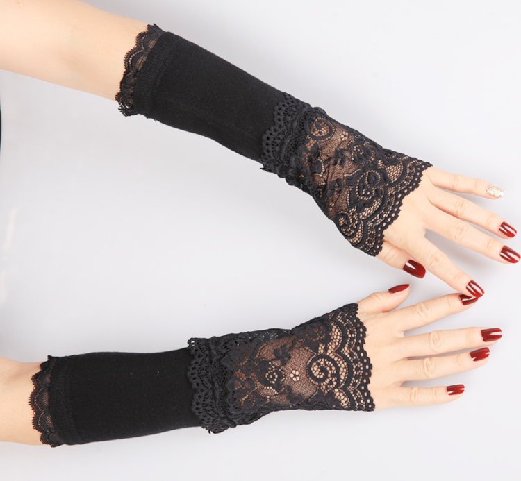 Autumn and winter thin Gloves Lace stitching knitted sleeve sleeve false sleeve beautiful arm sleeve womens matching sleeves