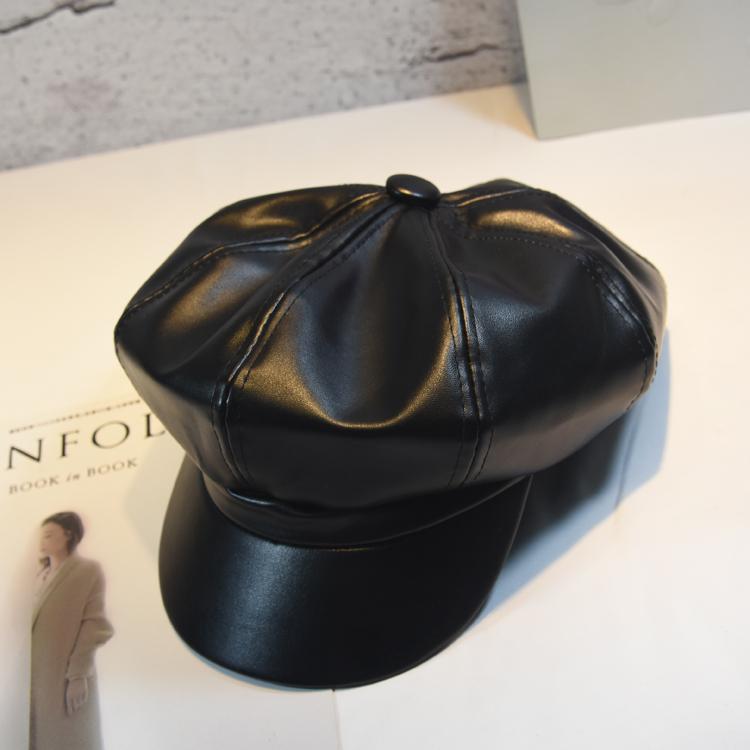 八角帽女性秋冬韓版日系百合pu皮質復古イギリスファッションins軟妹ネット赤ベレー帽