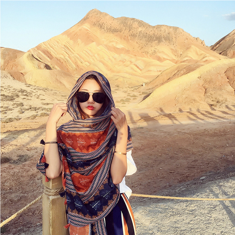 New style holiday tassel national style art cotton hemp scarf women travel Lijiang, Tibet sunscreen Scarf Shawl