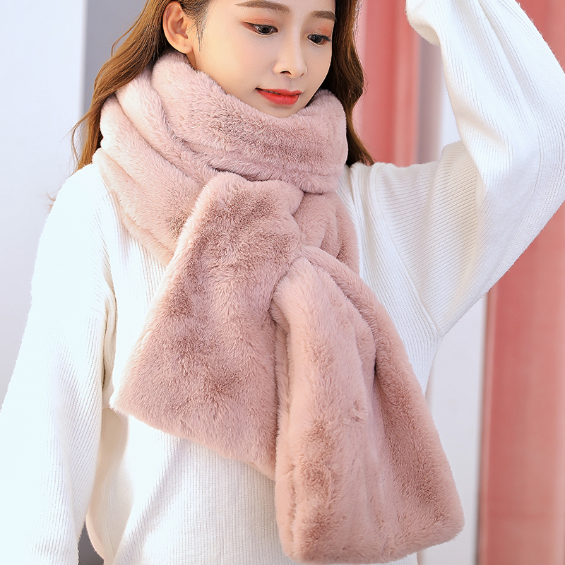 Scarf female winter Korean version all kinds of neckwear thickened rabbit hair Plush scarf warm Plush student female Pullover winter