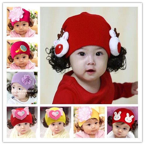 Baby Hat spring and autumn women 0-1-2 years old children Princess wig hat Korean version winter cotton baby wool hat trend