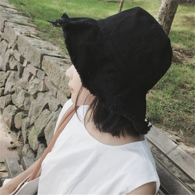 Asceticism system, raw edge, fishermans hat, womens grinding edge, versatile basin hat, foldable water wash cloth hat, trendy mens Korean version