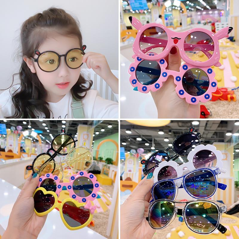 儿童太阳镜眼镜潮时尚宝宝墨镜批发女童眼睛可爱卡通小童玩具配饰