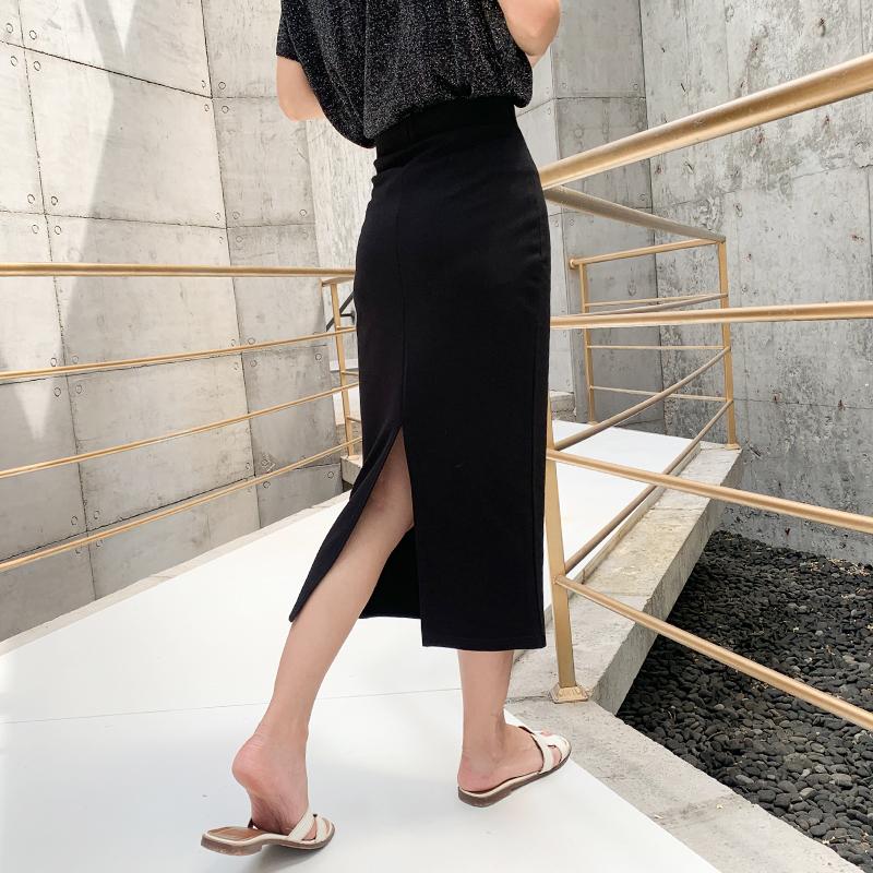 黑色半身裙女秋冬显瘦2019新款中长款高腰长裙开叉一步包臀裙子夏券后49.00元